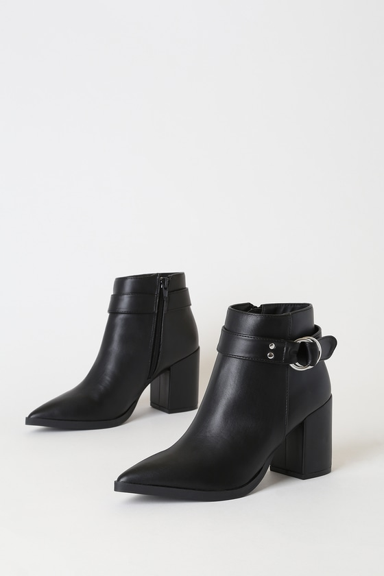 Caitlyn Black Pointed-Toe Ankle Booties