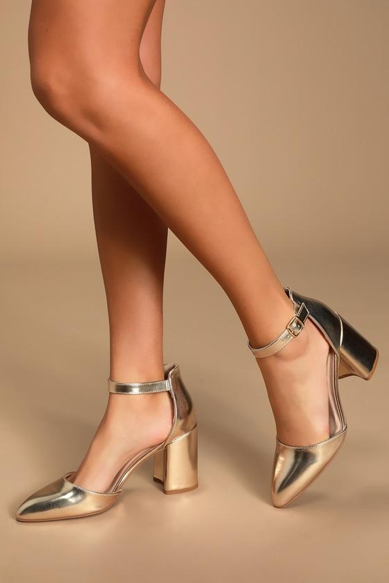 Trendy Gold Heels - Ankle Strap Heels