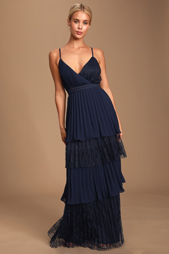 Date With A Daydream Navy Blue Pleated Lace Tiered Maxi Dress