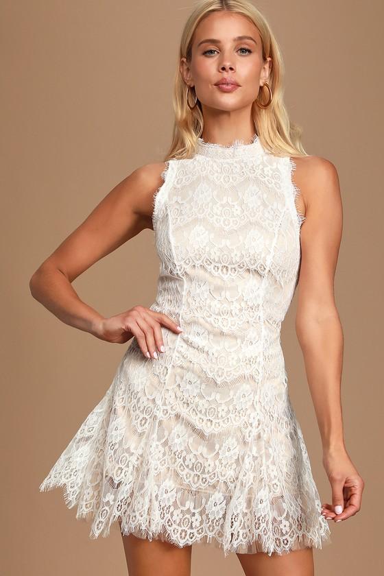 Vintage Style Wedding Dresses, Vintage Inspired Wedding Gowns Dreaming of Forever White Lace Mock Neck Mini Dress - Lulus $68.00 AT vintagedancer.com