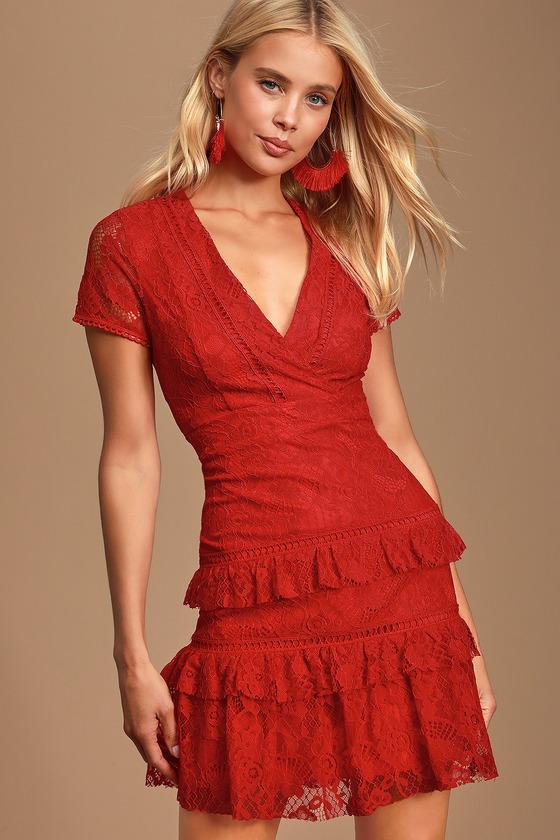 3b7f9fb9f291c Elegant Evening Red Lace Dress