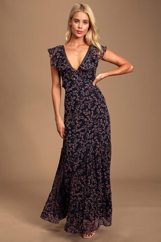 Darling Daydream Navy Blue Floral Print Ruffled Maxi Dress