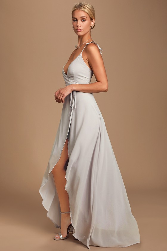 70s Prom, Formal, Evening, Party Dresses Heres To Us Light Grey High-Low Wrap Dress - Lulus $72.00 AT vintagedancer.com