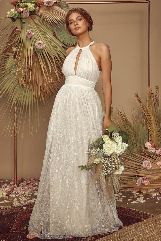 Vintage Style Wedding Dresses, Vintage Inspired Wedding Gowns Dollie Off White Lace Halter Maxi Dress - Lulus $98.00 AT vintagedancer.com