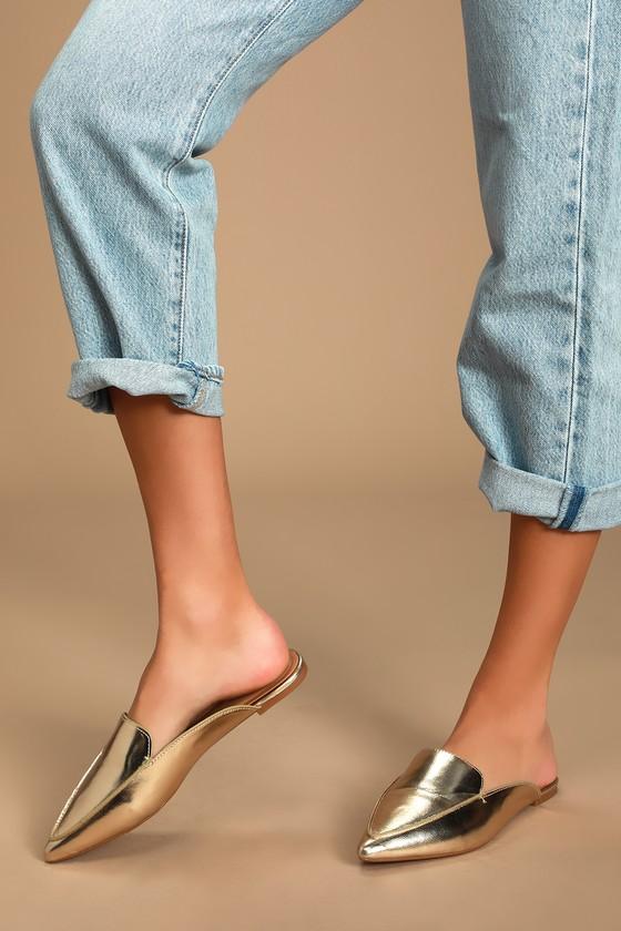 Gold Loafer Slides - Slip-On Loafers