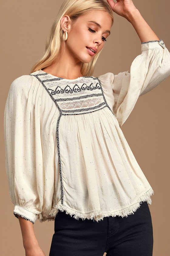 Women's 70s Shirts, Blouses, Hippie Tops Cyprus Avenue Ivory Embroidered Top - Lulus $88.00 AT vintagedancer.com