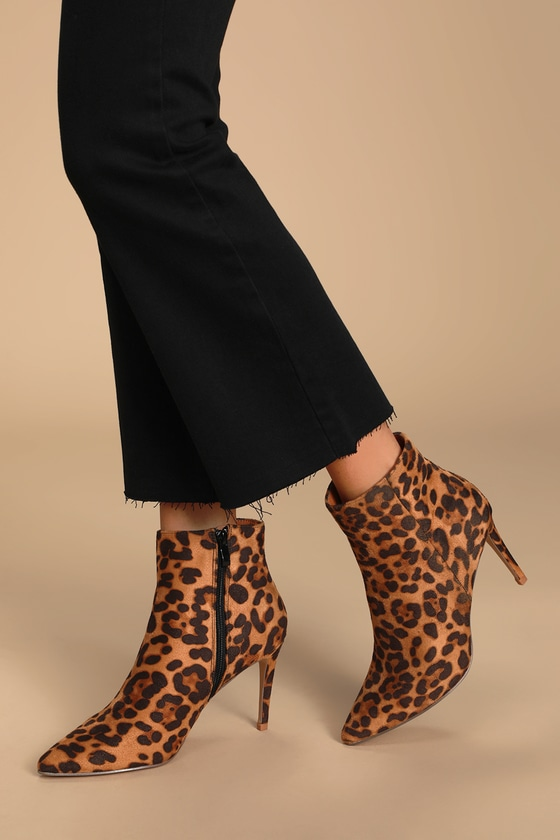 Selenah Leopard Suede Pointed Toe Ankle Booties