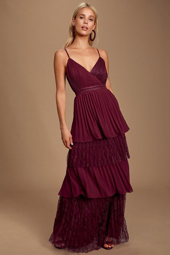 Date With a Daydream Burgundy Pleated Lace Tiered Maxi Dress