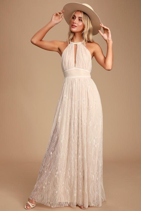 60s Wedding Dresses | 70s Wedding Dresses Dollie Off White Lace Halter Maxi Dress - Lulus $78.00 AT vintagedancer.com