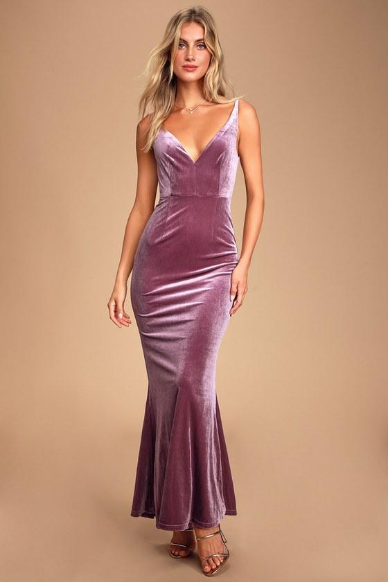 1e551d09fa72d Maliya Mauve Purple Velvet Mermaid Maxi Dress