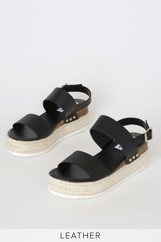 c6f2412f7d3 Catia Black Leather Platform Espadrille Sandals