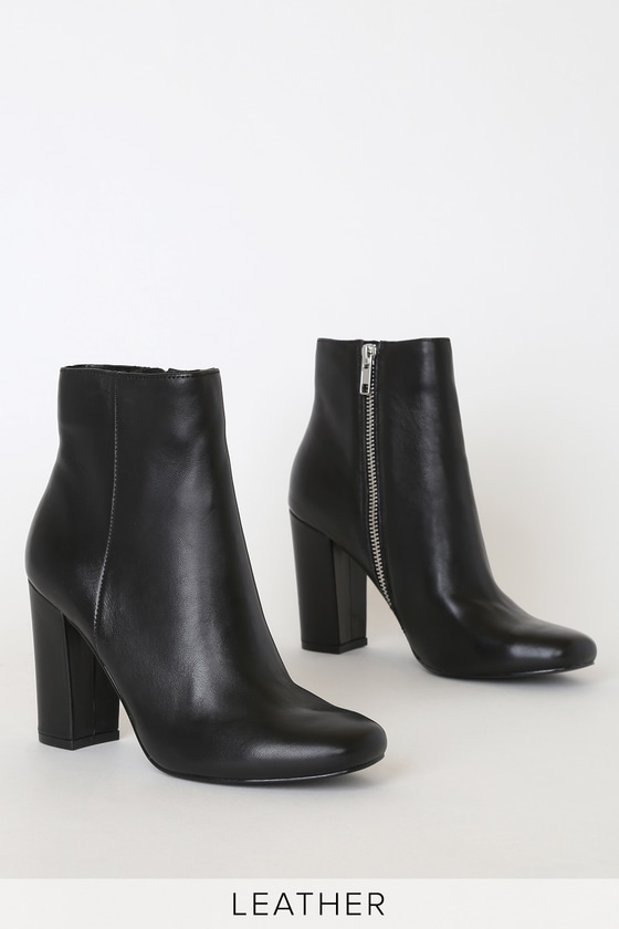 Pixie Black Leather Mid-Calf Booties