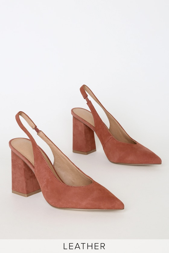 Katana Rhubarb Suede Leather Pointed Toe Slingback Pumps by Chinese Laundry