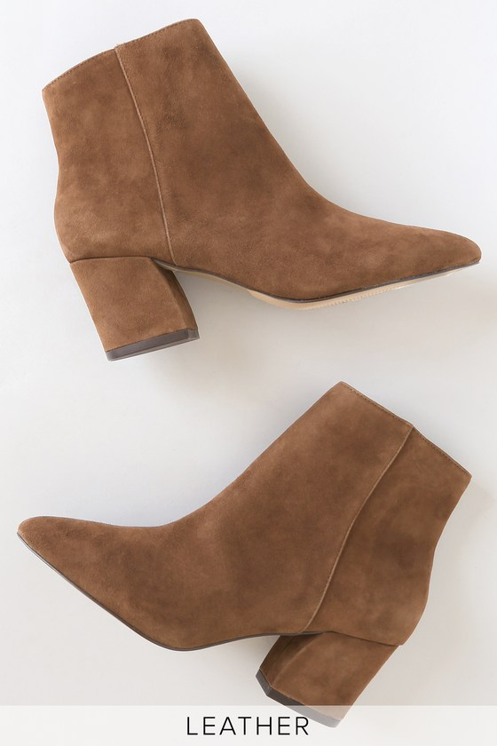 25cb0f1dce6 Missie Brown Suede Leather Pointed-Toe Ankle Booties