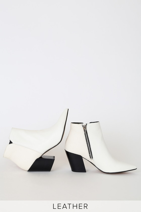 Aden White Leather Pointed Toe Ankle Booties