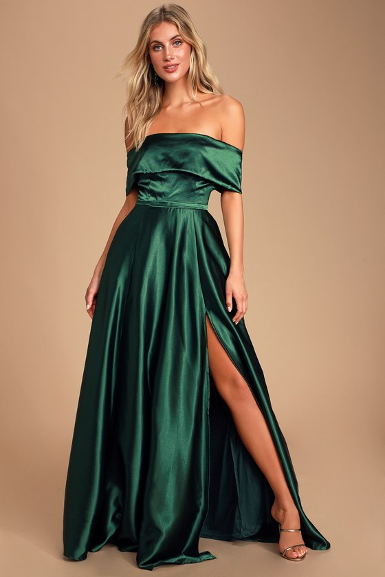 Greatest Hits Forest Green Satin Off The Shoulder Maxi Dress by Lulu's