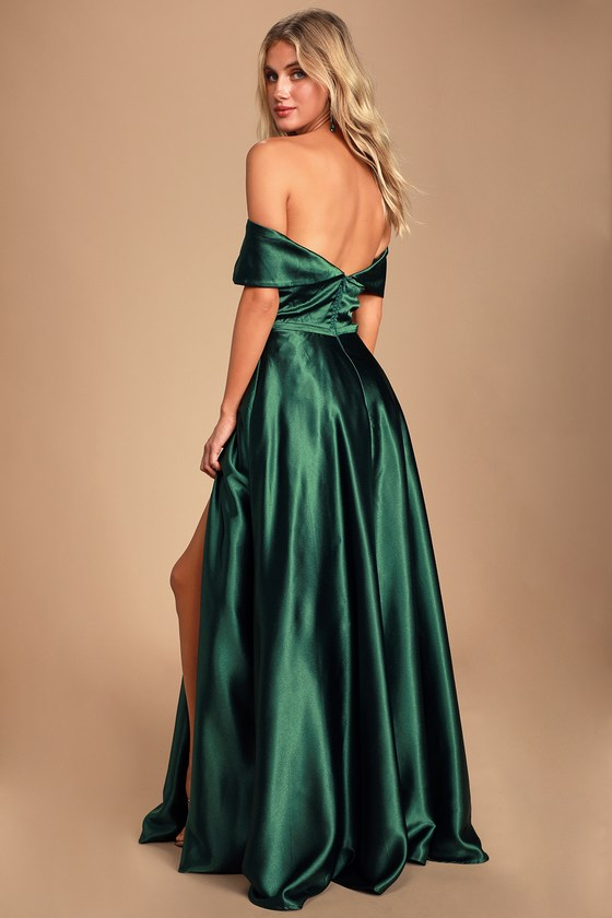 0d7319fd99 Greatest Hits Forest Green Satin Off-the-Shoulder Maxi Dress