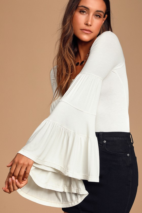 Babetown Ivory Bell Sleeve Top by Free People