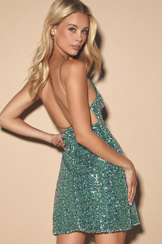 Force Of Fashion Green Backless Sequin Mini Dress by Lulus