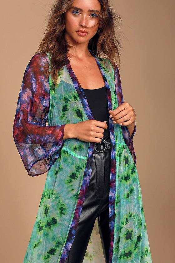 Juliette Neon Green Tie-Dye Chiffon Kimono - Long Sleeve Hippie
