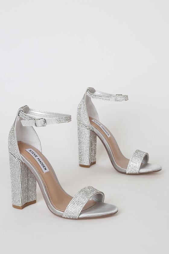 no sale tax nice shoes running shoes Steve Madden Carrson-R - Rhinestone Heels - Silver Heels