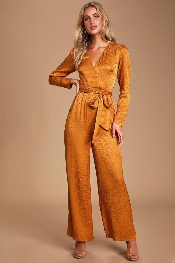 70s Jumpsuit   Disco Jumpsuits – Sequin, Striped, Gold, White, Black Stay Golden Orange Jacquard Leopard Print Satin Jumpsuit - Lulus $95.00 AT vintagedancer.com