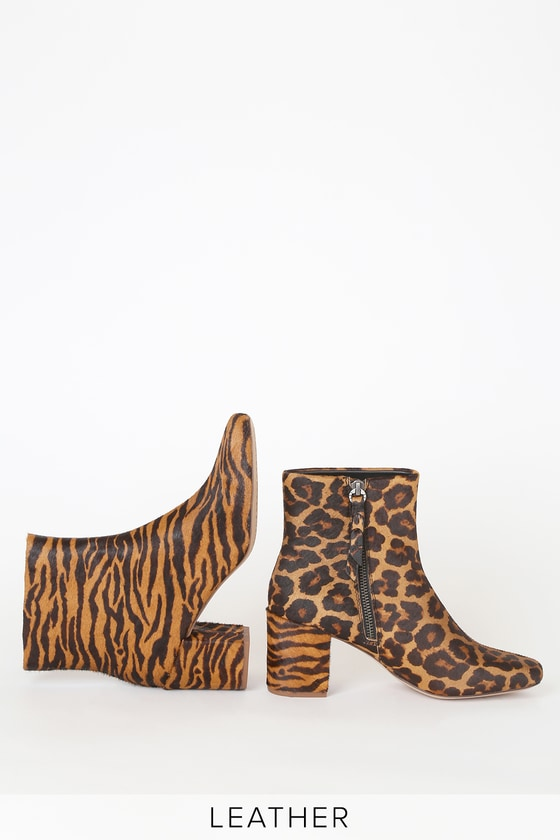Heather III Tiger Pony Fur High Heel Booties
