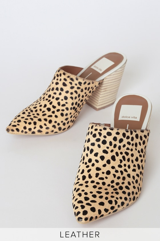 Angela Leopard Cow Hair Pointed Toe Mules by Dolce Vita