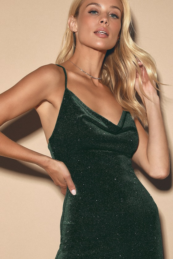 Alisan Forest Green Sparkly Cowl Neck Bodycon Midi Dress by Lulus