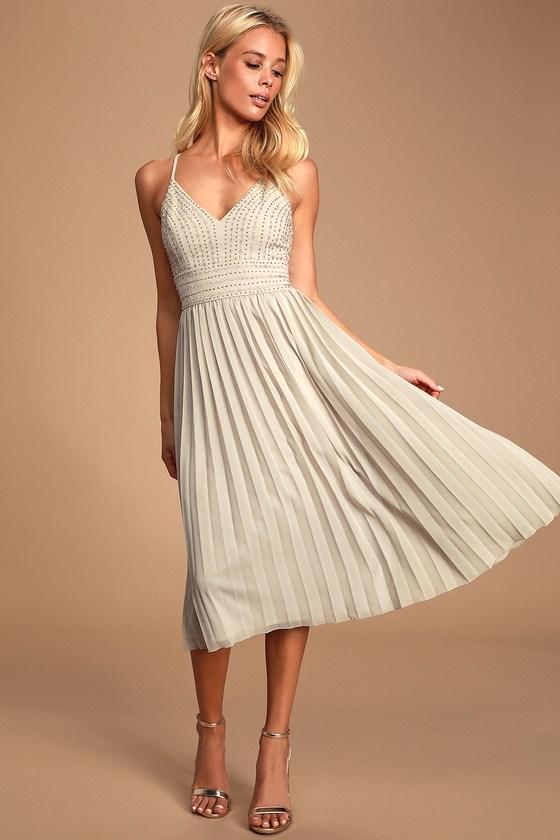 de594387a9 Delectable Delilah Grey Embroidered Midi Dress