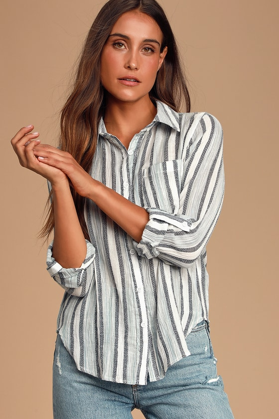 Kinsay Blue and White Striped Long Sleeve Button-Up Top - Trendy Career Outfit