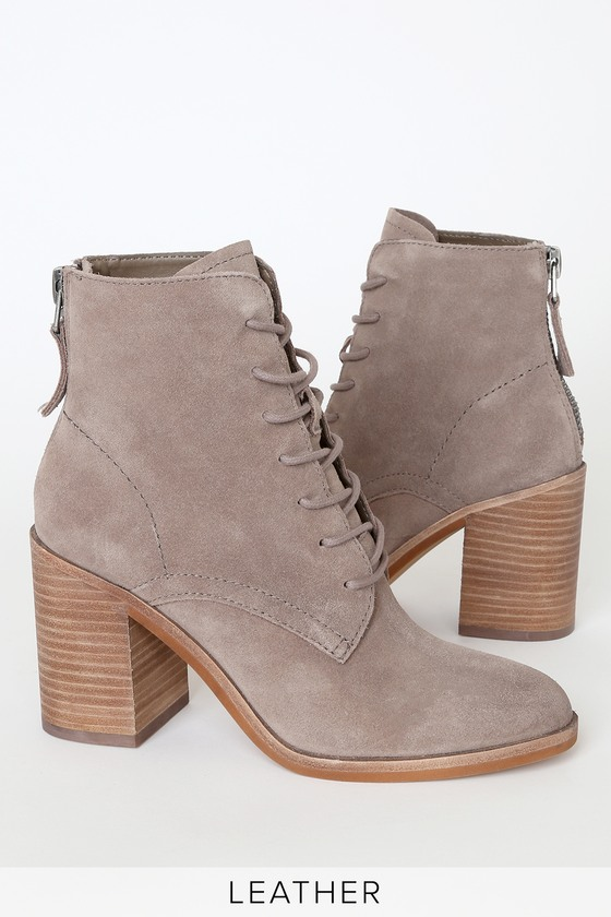 Drew Dark Taupe Genuine Suede Leather Lace-Up Booties - Lulus