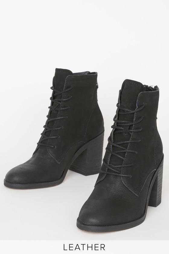Vintage Boots, Granny Boots, Retro Boots Drew Black Nubuck Leather Lace-Up Booties - Lulus $150.00 AT vintagedancer.com