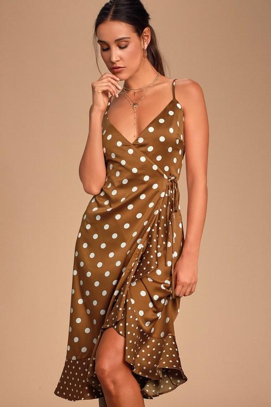 Vintage Cocktail Dresses, Party Dresses, Prom Dresses Love Dottie Brown Polka Dot Satin Wrap Dress - Lulus $58.00 AT vintagedancer.com