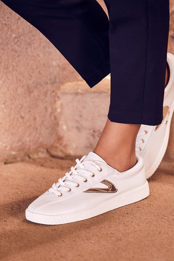 Nylite 2 Plus Vintage White and Gold Leather Sneakers