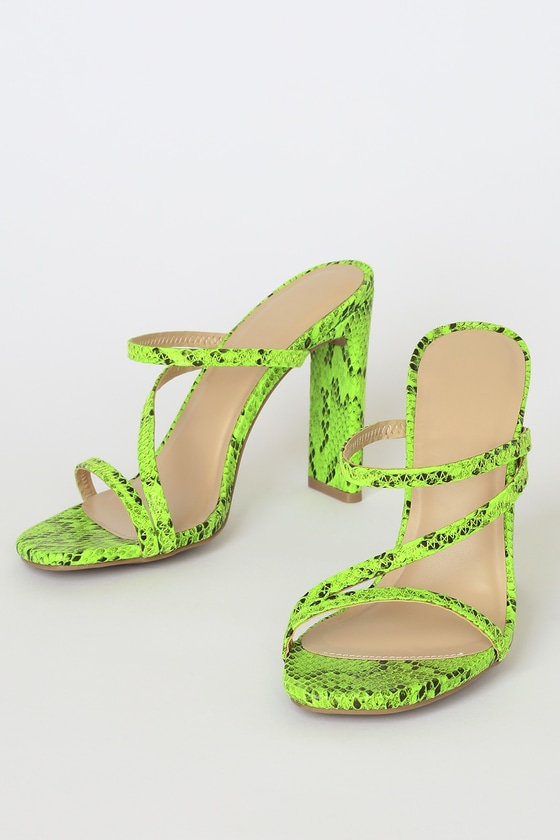 Ferrara Neon Green Snake High Heel Sandals - Animal Print Shoes