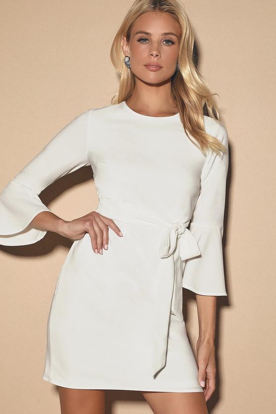 2befae0b354e6 Last Love Song White Tie-Waist Dress
