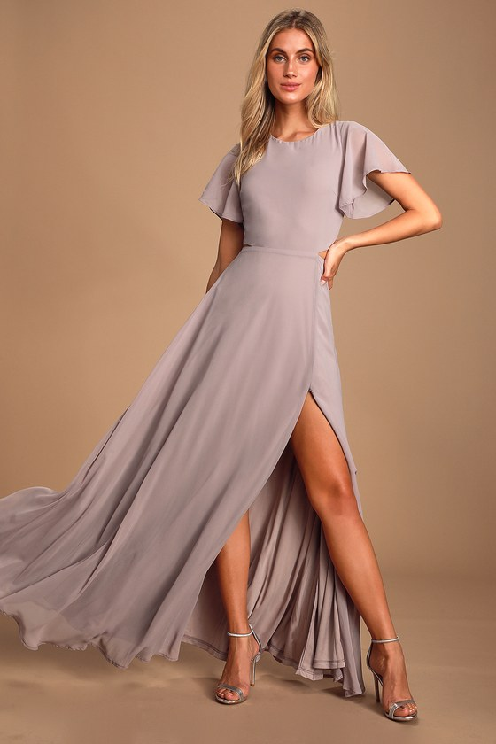 Garden Bliss Dusty Lavender Cutout Maxi Dress - Lulus