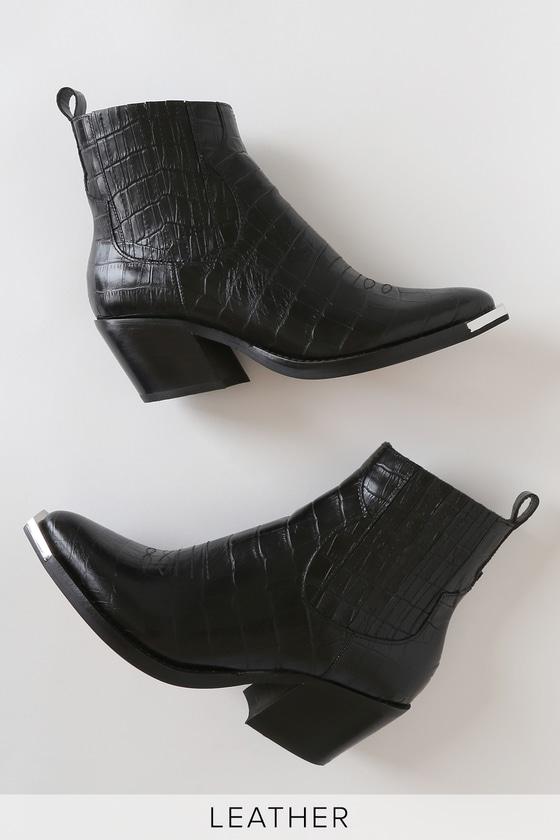 Abie Black Crocodile Embossed Leather Pointed-Toe Ankle Booties
