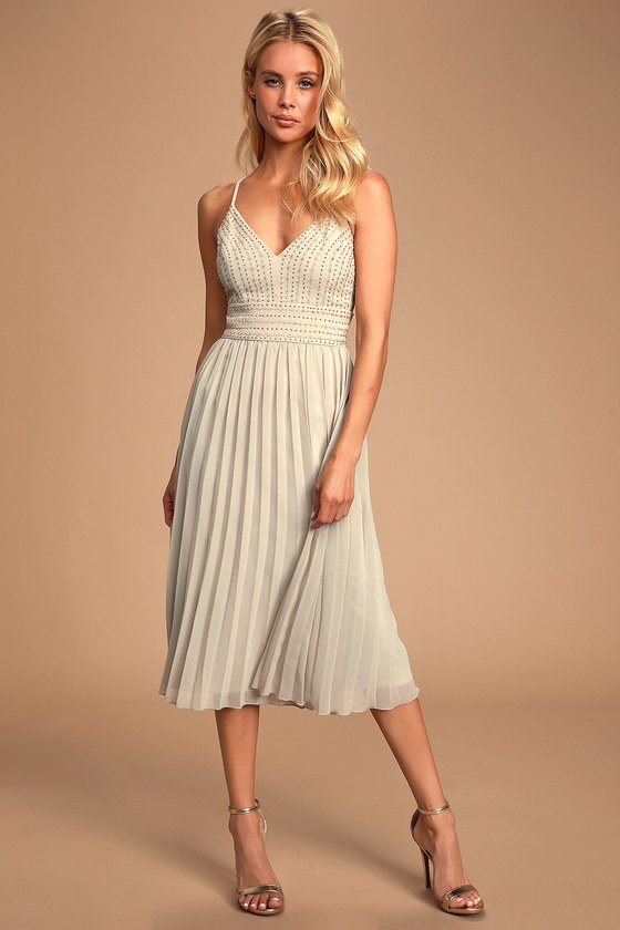 Delectable Delilah Grey Embroidered Midi Dress