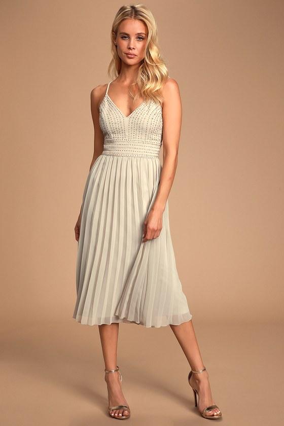 1960s – 70s Cocktail, Party, Prom, Evening Dresses Delectable Delilah Grey Embroidered Midi Dress - Lulus $89.00 AT vintagedancer.com