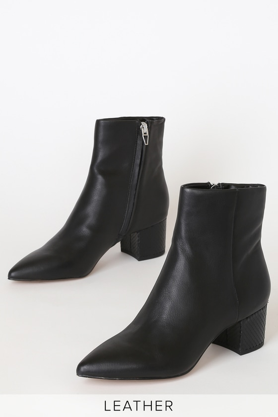 e2c5b298653 Bel Onyx Leather Pointed-Toe Ankle Booties