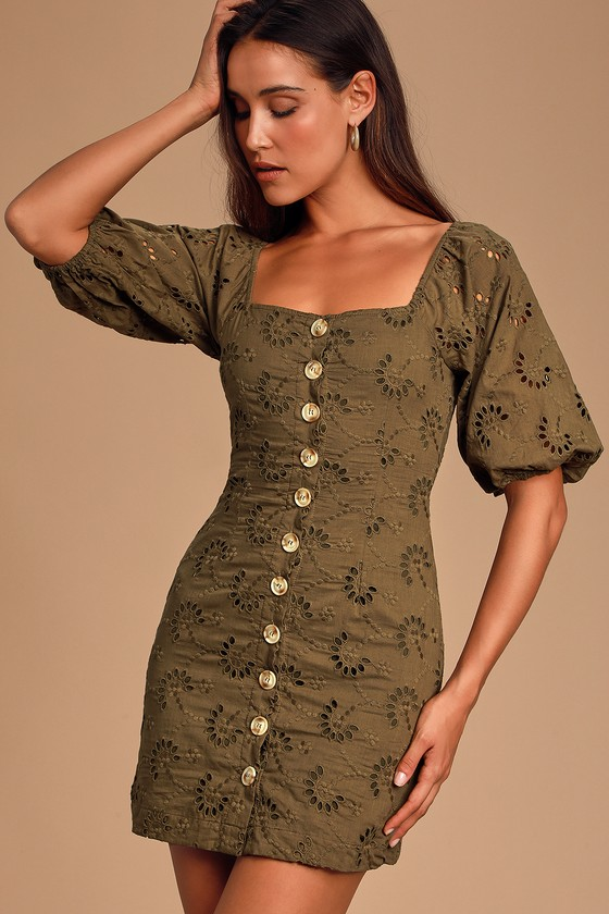 O'KEEFE OLIVE GREEN EYELET LACE BUTTON-FRONT MINI DRESS