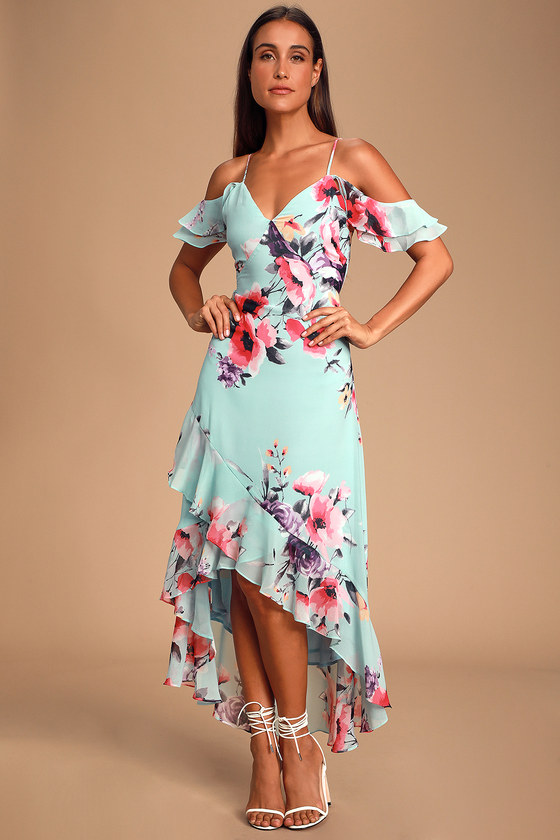 Love in Bloom Blue Floral Print Off-the-Shoulder High-low Dress
