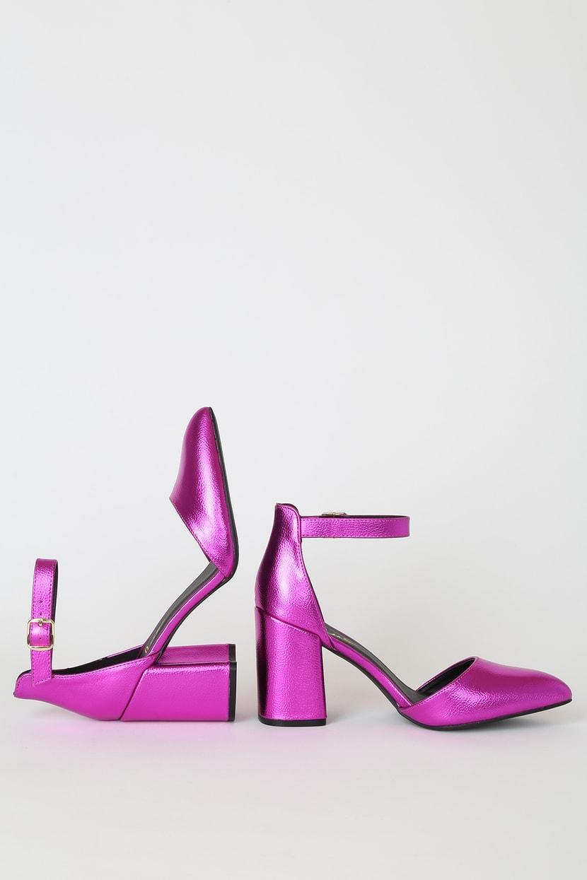 Pink Metallic Heels