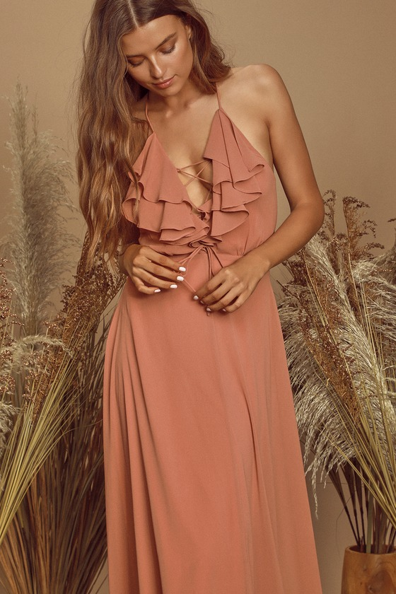 Meridith Dusty Rose Ruffled Lace-Up Maxi Dress