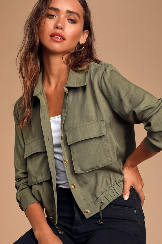 Eldora Olive Green Cropped Utility Jacket by Lulus