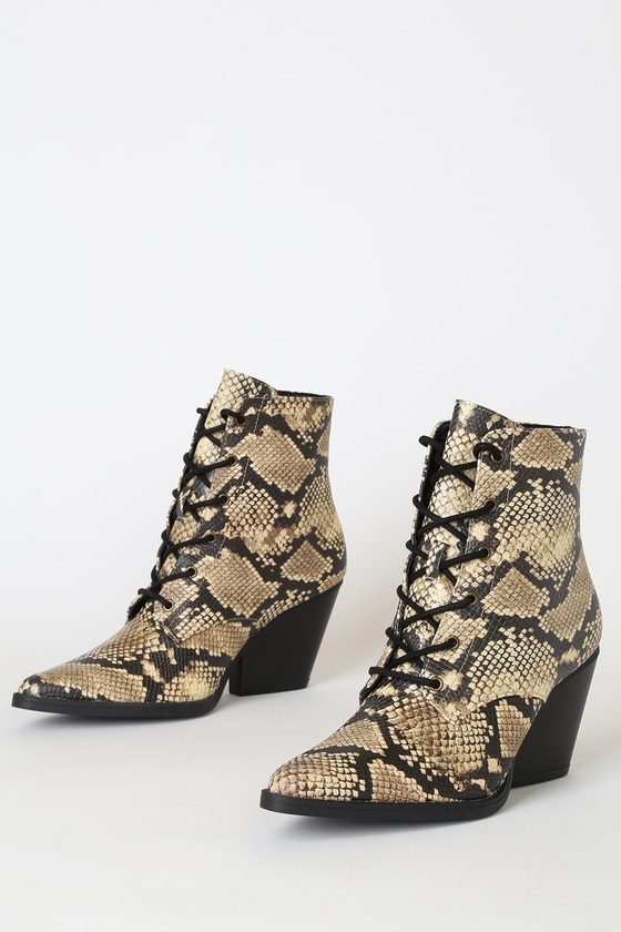 Beretta Beige and Black Snake Lace-Up High Heel Boots