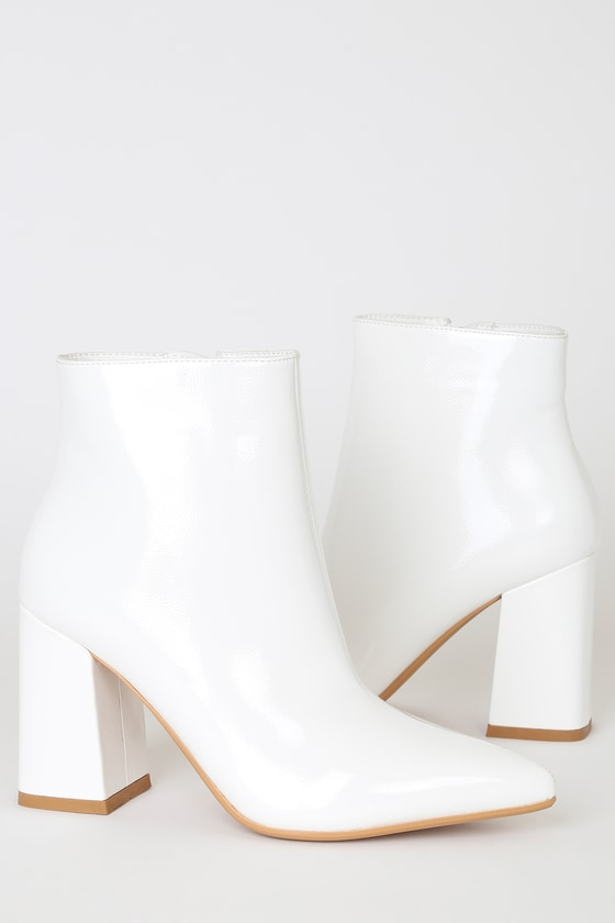 42fc94c200c Temptations White Patent Pointed-Toe Booties