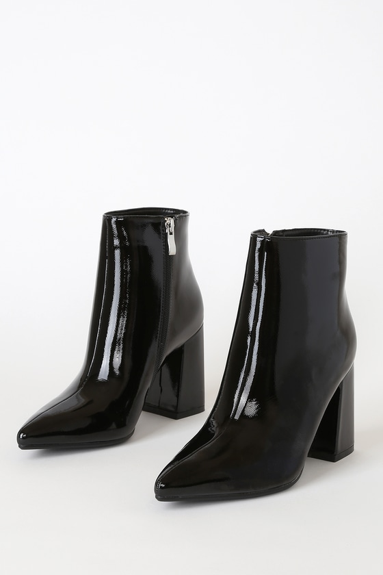 Temptations Black Patent Pointed-Toe Booties